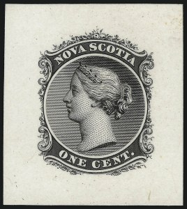 Sale Number 1086, Lot Number 2274, Nova Scotia from Fred G. Fawn CollectionNOVA SCOTIA, 1860, 1c Black, Die Proof on India (Minuse & Pratt 8P2a), NOVA SCOTIA, 1860, 1c Black, Die Proof on India (Minuse & Pratt 8P2a)