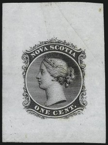 Sale Number 1086, Lot Number 2275, Nova Scotia from Fred G. Fawn CollectionNOVA SCOTIA, 1860, 1c Black, Die Proof on India (Minuse & Pratt 8P2a), NOVA SCOTIA, 1860, 1c Black, Die Proof on India (Minuse & Pratt 8P2a)