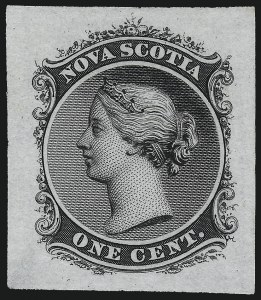Sale Number 1086, Lot Number 2276, Nova Scotia from Fred G. Fawn CollectionNOVA SCOTIA, 1860, 1c Black, Die Proof on India (Minuse & Pratt 8P2a), NOVA SCOTIA, 1860, 1c Black, Die Proof on India (Minuse & Pratt 8P2a)