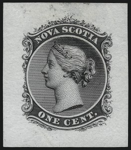 Sale Number 1086, Lot Number 2277, Nova Scotia from Fred G. Fawn Collection (Continued...)NOVA SCOTIA, 1860, 1c Black, Die Proof on India (Minuse & Pratt 8P2a), NOVA SCOTIA, 1860, 1c Black, Die Proof on India (Minuse & Pratt 8P2a)
