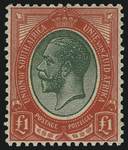 Sale Number 1086, Lot Number 2346, Singapore thru TasmaniaSOUTH AFRICA, 1916, £1 Red & Deep Green (16; SG 17), SOUTH AFRICA, 1916, £1 Red & Deep Green (16; SG 17)