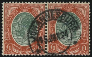 Sale Number 1086, Lot Number 2347, Singapore thru TasmaniaSOUTH AFRICA, 1916, £1 Red & Deep Green (16; SG 17), SOUTH AFRICA, 1916, £1 Red & Deep Green (16; SG 17)