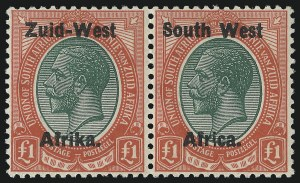 Sale Number 1086, Lot Number 2352, Singapore thru TasmaniaSOUTH WEST AFRICA, 1923, £1 Red & Deep Green, Setting I (12; SG 12), SOUTH WEST AFRICA, 1923, £1 Red & Deep Green, Setting I (12; SG 12)