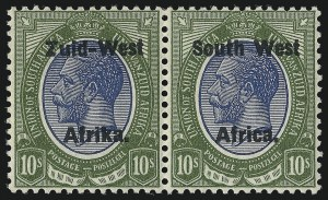 Sale Number 1086, Lot Number 2353, Singapore thru TasmaniaSOUTH WEST AFRICA, 1923, 10sh Olive Green & Blue, Setting II (14; SG 14), SOUTH WEST AFRICA, 1923, 10sh Olive Green & Blue, Setting II (14; SG 14)