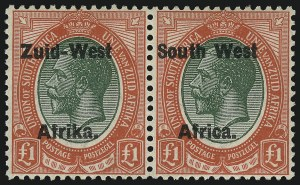 Sale Number 1086, Lot Number 2354, Singapore thru TasmaniaSOUTH WEST AFRICA, 1923, £1 Red & Green, Setting II (15; SG 15), SOUTH WEST AFRICA, 1923, £1 Red & Green, Setting II (15; SG 15)