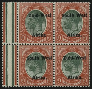 "Sale Number 1086, Lot Number 2355, Singapore thru TasmaniaSOUTH WEST AFRICA, 1923, £1 Red & Green, Pair, Setting II, Without Period after ""Afrika"" (15c; SG 15a), SOUTH WEST AFRICA, 1923, £1 Red & Green, Pair, Setting II, Without Period after ""Afrika"" (15c; SG 15a)"