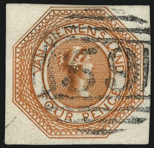 Sale Number 1086, Lot Number 2357, Singapore thru TasmaniaTASMANIA, 1853, 4p Red Orange, Plate I, First State (2 var; SG 5), TASMANIA, 1853, 4p Red Orange, Plate I, First State (2 var; SG 5)