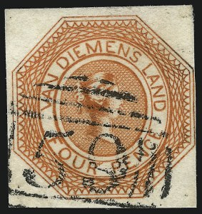 Sale Number 1086, Lot Number 2358, Singapore thru TasmaniaTASMANIA, 1853, 4p Red Orange, Plate I, Second State (2; SG 8), TASMANIA, 1853, 4p Red Orange, Plate I, Second State (2; SG 8)
