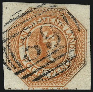 Sale Number 1086, Lot Number 2359, Singapore thru TasmaniaTASMANIA, 1853, 4p Red Orange, Plate I, Second State (2; SG 8), TASMANIA, 1853, 4p Red Orange, Plate I, Second State (2; SG 8)