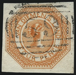 Sale Number 1086, Lot Number 2360, Singapore thru TasmaniaTASMANIA, 1853, 4p Red Orange, Plate I, Second State (2; SG 8), TASMANIA, 1853, 4p Red Orange, Plate I, Second State (2; SG 8)