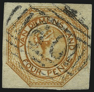 Sale Number 1086, Lot Number 2361, Singapore thru TasmaniaTASMANIA, 1853, 4p Dull Orange, Plate II (2b; SG 11), TASMANIA, 1853, 4p Dull Orange, Plate II (2b; SG 11)