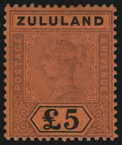 Sale Number 1086, Lot Number 2380, Transvaal thru ZululandZULULAND, 1894, £5 Violet & Black on Red (24; SG 29), ZULULAND, 1894, £5 Violet & Black on Red (24; SG 29)