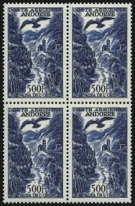 Sale Number 1086, Lot Number 2383, Albania thru ArgentinaANDORRA (French), 1955-57, 100fr-500fr Air Post (C2-C4; Maury A2-A4), ANDORRA (French), 1955-57, 100fr-500fr Air Post (C2-C4; Maury A2-A4)