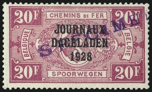 "Sale Number 1086, Lot Number 2396, Belgium thru BulgariaBELGIUM, 1928, 10c-20fr Newspaper Stamps, with ""Specimen"" Overprint (P1s-P19s; COB JO1-JO18), BELGIUM, 1928, 10c-20fr Newspaper Stamps, with ""Specimen"" Overprint (P1s-P19s; COB JO1-JO18)"