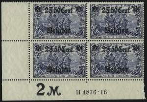 Sale Number 1086, Lot Number 2398, Belgium thru BulgariaBELGIUM, German Occupation, 1916, 2fr50c on 2m Gray Blue, Type II (24; Michel 24IIA), BELGIUM, German Occupation, 1916, 2fr50c on 2m Gray Blue, Type II (24; Michel 24IIA)