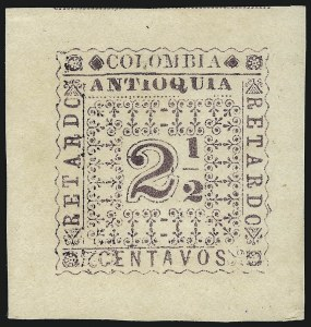 Sale Number 1086, Lot Number 2542, Colombia, Antioquia from Santiago Cruz Collection (Continued...)COLOMBIA, Antioquia, 1901, 2-1/2c Red Violet Late Fee, Die Proof on Laid Paper (I2P), COLOMBIA, Antioquia, 1901, 2-1/2c Red Violet Late Fee, Die Proof on Laid Paper (I2P)