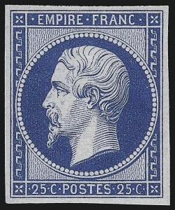 Sale Number 1086, Lot Number 2571, France featuring the Donald L. Feldman CollectionFRANCE, 1862, 25c Blue Re-Issue (17c; Yvert 15c), FRANCE, 1862, 25c Blue Re-Issue (17c; Yvert 15c)