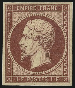 Sale Number 1086, Lot Number 2574, France featuring the Donald L. Feldman Collection (Continued...)FRANCE, 1862, 1fr Lake Reissue (21c; Yvert 18d), FRANCE, 1862, 1fr Lake Reissue (21c; Yvert 18d)