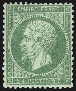 Sale Number 1086, Lot Number 2575, France featuring the Donald L. Feldman Collection (Continued...)FRANCE, 1862, 5c Yellow Green on Greenish Paper (23; Yvert 20), FRANCE, 1862, 5c Yellow Green on Greenish Paper (23; Yvert 20)