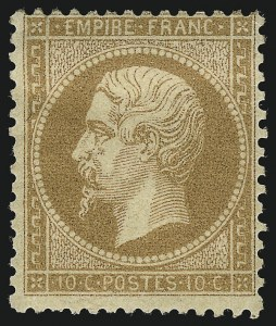 Sale Number 1086, Lot Number 2576, France featuring the Donald L. Feldman Collection (Continued...)FRANCE, 1862, 10c Bister (25; Yvert 21), FRANCE, 1862, 10c Bister (25; Yvert 21)