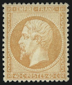 Sale Number 1086, Lot Number 2577, France featuring the Donald L. Feldman Collection (Continued...)FRANCE, 1862, 40c Pale Orange (27a; Yvert 23a), FRANCE, 1862, 40c Pale Orange (27a; Yvert 23a)
