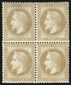 Sale Number 1086, Lot Number 2579, France featuring the Donald L. Feldman Collection (Continued...)FRANCE, 1867, 10c Bister on Yellowish Paper (32; Yvert 28B), FRANCE, 1867, 10c Bister on Yellowish Paper (32; Yvert 28B)