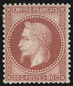 Sale Number 1086, Lot Number 2581, France featuring the Donald L. Feldman Collection (Continued...)FRANCE, 1868, 80c Rose on Pinkish (36; Yvert 32), FRANCE, 1868, 80c Rose on Pinkish (36; Yvert 32)
