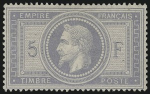 Sale Number 1086, Lot Number 2582, France featuring the Donald L. Feldman Collection (Continued...)FRANCE, 1869, 5fr Gray Lilac on Lavender Paper (37; Yvert 33), FRANCE, 1869, 5fr Gray Lilac on Lavender Paper (37; Yvert 33)