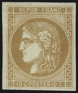 Sale Number 1086, Lot Number 2584, France featuring the Donald L. Feldman Collection (Continued...)FRANCE, 1870, 10c Bister on Yellowish Paper, Type B (42a; Yvert 43B), FRANCE, 1870, 10c Bister on Yellowish Paper, Type B (42a; Yvert 43B)