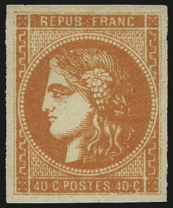 Sale Number 1086, Lot Number 2585, France featuring the Donald L. Feldman Collection (Continued...)FRANCE, 1870, 40c Bright Orange on Yellowish Paper (47b; Yvert 48a), FRANCE, 1870, 40c Bright Orange on Yellowish Paper (47b; Yvert 48a)