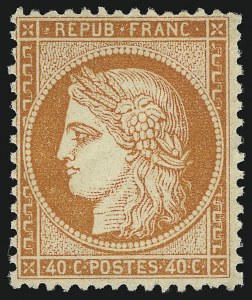 Sale Number 1086, Lot Number 2586, France featuring the Donald L. Feldman Collection (Continued...)FRANCE, 1870, 40c Orange on Yellowish, Ty. I (59; Yvert 38), FRANCE, 1870, 40c Orange on Yellowish, Ty. I (59; Yvert 38)