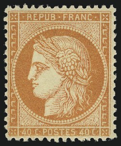 Sale Number 1086, Lot Number 2587, France featuring the Donald L. Feldman Collection (Continued...)FRANCE, 1870, 40c Orange on Yellowish, Ty. I (59; Yvert 38), FRANCE, 1870, 40c Orange on Yellowish, Ty. I (59; Yvert 38)