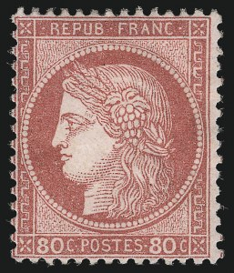 Sale Number 1086, Lot Number 2588, France featuring the Donald L. Feldman Collection (Continued...)FRANCE, 1872, 80c Rose on Pinkish Paper (63; Yvert 57), FRANCE, 1872, 80c Rose on Pinkish Paper (63; Yvert 57)