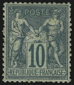 Sale Number 1086, Lot Number 2590, France featuring the Donald L. Feldman Collection (Continued...)FRANCE, 1876, 10c Green on Greenish Paper, Type I (68; Yvert 65), FRANCE, 1876, 10c Green on Greenish Paper, Type I (68; Yvert 65)