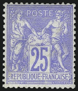 Sale Number 1086, Lot Number 2592, France featuring the Donald L. Feldman Collection (Continued...)FRANCE, 1876, 25c Ultramarine on Bluish Paper, Type I (72; Yvert 68), FRANCE, 1876, 25c Ultramarine on Bluish Paper, Type I (72; Yvert 68)
