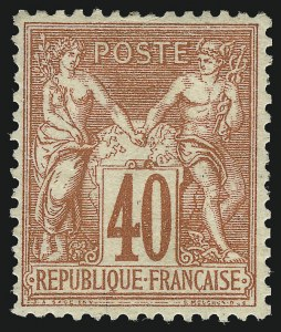 Sale Number 1086, Lot Number 2593, France featuring the Donald L. Feldman Collection (Continued...)FRANCE, 1878, 40c Red on Straw Paper, Type I (74; Yvert 70), FRANCE, 1878, 40c Red on Straw Paper, Type I (74; Yvert 70)