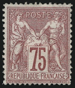 Sale Number 1086, Lot Number 2594, France featuring the Donald L. Feldman Collection (Continued...)FRANCE, 1876, 75c Carmine on Rose Paper, Type I (75; Yvert 71), FRANCE, 1876, 75c Carmine on Rose Paper, Type I (75; Yvert 71)