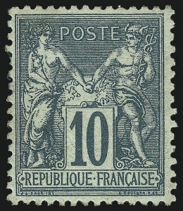 Sale Number 1086, Lot Number 2595, France featuring the Donald L. Feldman Collection (Continued...)FRANCE, 1876, 10c Green on Greenish Paper, Type II (79; Yvert 76), FRANCE, 1876, 10c Green on Greenish Paper, Type II (79; Yvert 76)