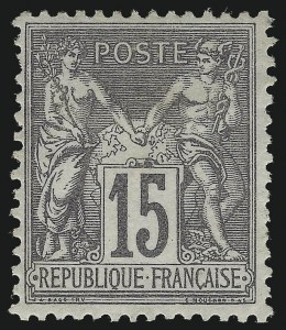 Sale Number 1086, Lot Number 2596, France featuring the Donald L. Feldman Collection (Continued...)FRANCE, 1876, 15c Gray Lilac on Grayish Paper, Type II (80; Yvert 77), FRANCE, 1876, 15c Gray Lilac on Grayish Paper, Type II (80; Yvert 77)