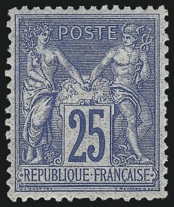Sale Number 1086, Lot Number 2597, France featuring the Donald L. Feldman Collection (Continued...)FRANCE, 1876, 25c Ultramarine on Bluish Paper, Type II (81; Yvert 78), FRANCE, 1876, 25c Ultramarine on Bluish Paper, Type II (81; Yvert 78)