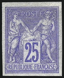 Sale Number 1086, Lot Number 2598, France featuring the Donald L. Feldman Collection (Continued...)FRANCE, 1876, 25c Ultramarine on Bluish Paper, Imperforate (81c; Yvert 78c), FRANCE, 1876, 25c Ultramarine on Bluish Paper, Imperforate (81c; Yvert 78c)