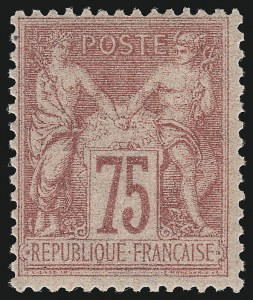 Sale Number 1086, Lot Number 2599, France featuring the Donald L. Feldman Collection (Continued...)FRANCE, 1877, 75c Carmine on Rose Paper, Type II (83; Yvert 81), FRANCE, 1877, 75c Carmine on Rose Paper, Type II (83; Yvert 81)
