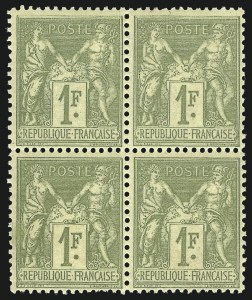 Sale Number 1086, Lot Number 2600, France featuring the Donald L. Feldman Collection (Continued...)FRANCE, 1877, 1fr Bronze Green on Straw (84; Yvert 82), FRANCE, 1877, 1fr Bronze Green on Straw (84; Yvert 82)