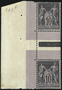 Sale Number 1086, Lot Number 2601, France featuring the Donald L. Feldman Collection (Continued...)FRANCE, 1877-98, 10c Black on Lavender, Types I-II (91/106; Yvert 103a), FRANCE, 1877-98, 10c Black on Lavender, Types I-II (91/106; Yvert 103a)