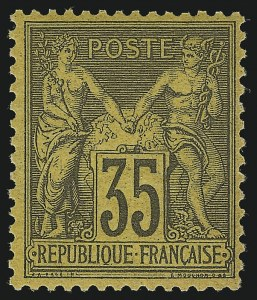 Sale Number 1086, Lot Number 2602, France featuring the Donald L. Feldman Collection (Continued...)FRANCE, 1878, 35c Black on Yellow Paper, Type II (94; Yvert 93), FRANCE, 1878, 35c Black on Yellow Paper, Type II (94; Yvert 93)