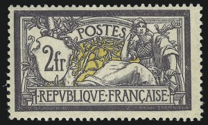 Sale Number 1086, Lot Number 2605, France featuring the Donald L. Feldman Collection (Continued...)FRANCE, 1900, 2fr Gray Violet & Yellow (126; Yvert 122), FRANCE, 1900, 2fr Gray Violet & Yellow (126; Yvert 122)