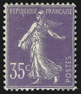 Sale Number 1086, Lot Number 2606, France featuring the Donald L. Feldman Collection (Continued...)FRANCE, 1906, 35c Violet, Type I (175b; Yvert 136), FRANCE, 1906, 35c Violet, Type I (175b; Yvert 136)