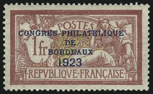 Sale Number 1086, Lot Number 2607, France featuring the Donald L. Feldman Collection (Continued...)FRANCE, 1923, 1fr Bordeaux (197; Yvert 182), FRANCE, 1923, 1fr Bordeaux (197; Yvert 182)