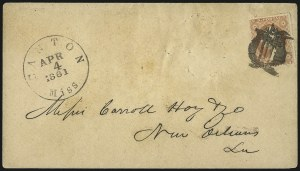 Sale Number 1087, Lot Number 24, Independent and Confederate use of U.S. PostageCanton Miss. Apr. 4, 1861, Canton Miss. Apr. 4, 1861