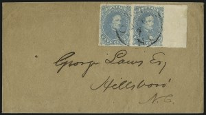 Sale Number 1087, Lot Number 327, General Issues On Cover: Scott 3-45c Milky Blue, Stone 3 (4b), 5c Milky Blue, Stone 3 (4b)